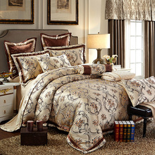 Luxury bohemian print silk satin cotton jacquard bedding sets Queen/King size 4/6/8/10pcs sets bed in bag golden linens(China)