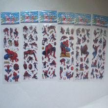 6 sheets/set bubble stickers Spider man 3D Cartoon stickers classic toys Scrapbook for kids rooms Christmas  Children's Gift