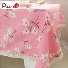 Pink linen cotton table cloth flower pattern printed lace edge table cover home party wedding decoration tablecloth