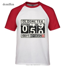 Rock Heavy Metal Style Oldometer 50 Years Old Men's Raglan Sleeve T-shirt Funny Birthday Fifty Years 18250 Days Age Odometer