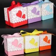 20pcs Pink Purple Bule Yellow Orange Red  Double Heart Gift Candy Boxes Wedding Favors and Gifts Baby Shower Party Decoration