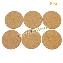 6pcs/Lot Heat Resistant Wood Round Shape Cork Coaster Tea Drink Wine Coffee Cup Mat Pad Table Decor