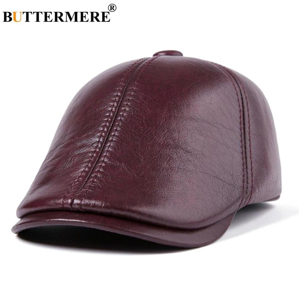 Características 2019 gorros boina gorras planas hombres Borgoña hiedra  gorra pico de pato cálidas gorras de taxi a52c60c9d0a