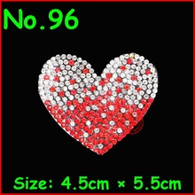 1 Pcs/Lot Red Heart Hot Fix Iron On Rhinestone Motif Iron On Crystal Patches For Women Wedding Dress Kids Clothes DIY Garment