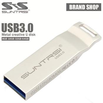Suntrsi metal unidad flash usb de alta velocidad 16g 32g 64g pluma unidad USB 3.0 Flash Drive de Memoria de Almacenamiento A Prueba de agua mini Pendrive Regalo