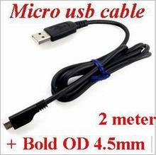 100pcs/lot *6FT/ 2M Top quality Thick  Bold OD4.5MM USB 3.0 High speed Micro USB Data sync Cable For Samsung galaxy HTC lg