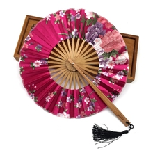 Free Shipping High Quality Delicate Packaging Chinese Bamboo Folding Silk Hand Fan with Flower Wedding Christmas Party Summer