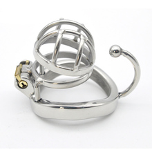 Buy Short type male chastity device Metal stainless steel cock cage Stealth lock anti-off ring cock penis ring chastity cage