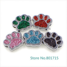 New Style 10pcs SL505 Internal Dia. 8mm dog paw slide Charms Jewelry Finding fit 8mm wristband pet collar key chain(China)
