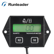 RL-HM011L big LCD battery replaceable tachometer hour meter for motorcycle outboard marine chainsaw forklift pump sprayer(China)