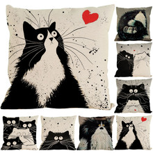 Hot Sale Vintage Cat Dog Cotton Pillow Case Waist Throw Flores Pillow Cover Dropshipping & Wholesale