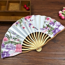 Wholesale Free Shipping with Tassel For Gift Plum Blossom Pocket Fans Chinese Japanese Folding Fan Wedding Invitations
