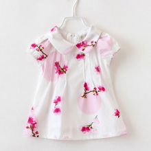 Kids Blouses Cotton 2017 Spring Children's Pink Floral Girls Turn Down Collar Shirt Flower Girls Blouses Baby Top Clothes QT001