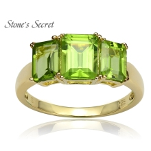 2.50ctw Rectangular Octagonal Manchurian Peridot 18k Gold Over Silver Ring(China)