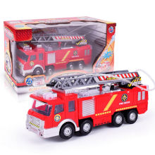 Pull Back Fire Fighting Truck Model Electric Toy with Lights Sirens Shoot Water Oyuncak Cool Watering Track Toys for Children