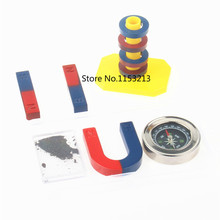 Free shipping 1 set Magnetic Teaching Tool Kit Horseshoe Magnet U type and compass with two rings two bar magnet / Toy magnet