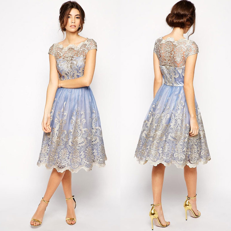 Petite Lace Embroidery Floral Dresses