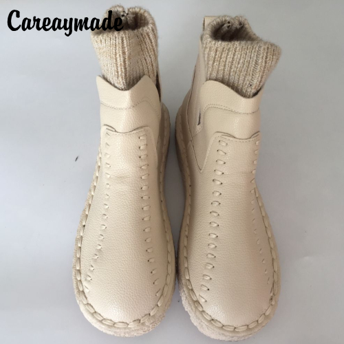 Careaymade-series Sen female literary wool mouth short winter boots and handmade wool round thick soled ankle boots,4 colors<br>