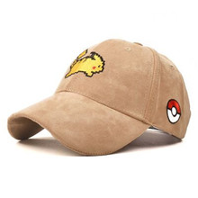 2016 Hot Cartoon Cap pokemon cap Pikachu   Embroidered Wild Baseball Cap bone masculino  Cartoon Cap Wholesale