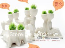 Creative Gift Plant Hair man X lover Plant Bonsai Grass Doll Office Mini Fantastic Home Decoration wholesale(China)