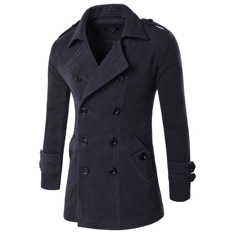 Mens Wool Overcoat Autumn Winter Male Blendscoat Men Wool Jacket title=