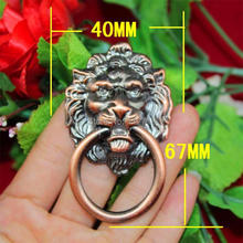 67 * 40MM kitchen cabinet handles and knobs red color antique wardrobe cupboard handle high-grade lion head door handle