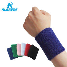 ALBREDA 1Pair*8CM Sport Wristband Gym Support Cotton Elastic Wrist Brace Wrap Fitness Tennis Sports Protection Hand Sweat Bands(China)