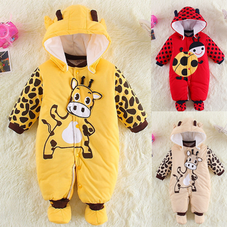 Baby Thick Warm Jumpsuits Autumn Winter Baby Outfits 100% Cotton Baby Girls Clothing Cartoon Baby Boys Products Infant Rompers<br><br>Aliexpress