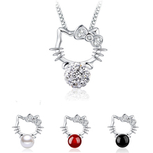 Trendy Anime Silver Hello Kitty Necklace for Women Girls Red Black Pearl Crystal Cat Necklace Pendants Kids Jewelry Accessory