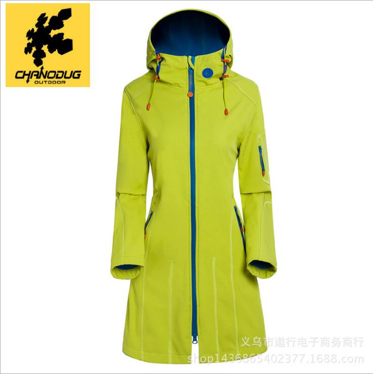 2017 New Long Softshell Outdoor Jacket Women Waterproof Windproof Autumn Winter Hiking Jackets Fleece Hooded Mountain Wear Black<br><br>Aliexpress