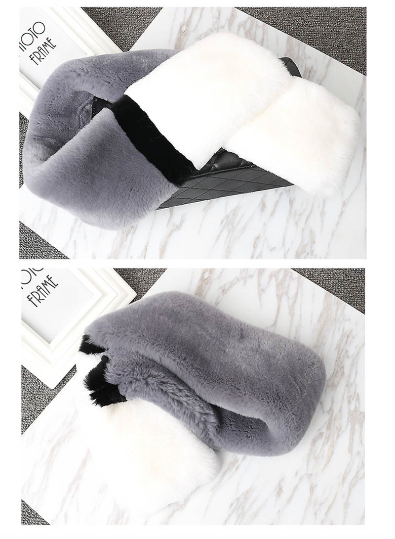 color rex rabbit scarf grey white 1