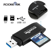 Rocketek USB 3.0 Memory Card Reader high quality 5Gbps Super Speed 2 Slots Card Reader for SD,TF,micro SD, SDXC free shipping(China)