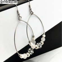 2017 new trendy earring party exquisite simple flash drill beads round circle drop Earrings for women drop ship fj473 YOUREM
