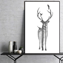 Nordic poster print Natural deer Forest Canvas Painting Scandinavian Abstract Wall Pictures Room Art Decoration Pictures(China)