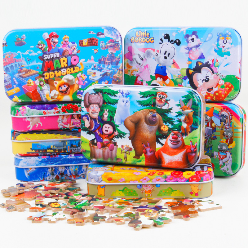 60pcs/set Wooden Puzzle Cartoon Toy 3D Wood Puzzle Iron Box Package Jigsaw Puzzle for Children Early Educational Montessori Toys(China (Mainland))