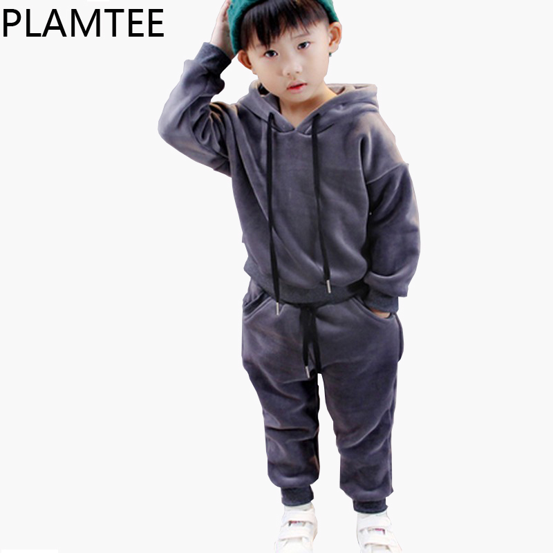 PLAMTEE 2017 Sports Suit For A Boy Pullover Tops+Trousers 2PCS Girls Clothes Fashion Warm Kids Sets Black&amp;Gray Children Clothing<br>