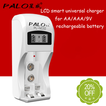 PALO Battery Charger 2 slots AA AAA battery charger for aa aaa 9v 6F22 nimh nicd battery with LCD display(China)