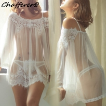 Buy Chafferer Erotic Pajamas Patchwork Solid Plus Size Sexy Lingerie Porno Underwear Transparent Lace Strap Nightdress Hot Babydoll