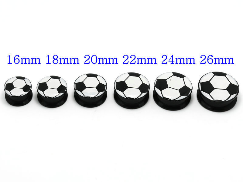 soccer ball footballlogo picture ear plug black acrylic internal thread ear gauges free shipping mix body piercing jewelry(China (Mainland))