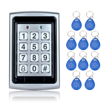 Free shipping 125KHz Waterproof RFID Access Control Metal keypad+10 Key Fobs for Door security System Electric digital locks(China)