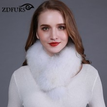 ZDFURS * Natural Color Fox Real Fur Collar Scarf Genuine fox fur Scarves Warp Shawl Neck Warmer Stole Muffler ZDC-163008(China)