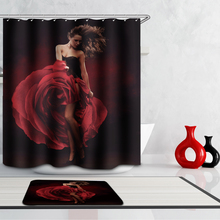 Women Sexy Polyester Fabric Waterproof Shower Curtain 3D Rose Marilyn Monroe Creative Mildew Resistant Cozy Bath Curtain 12 Hook(China)