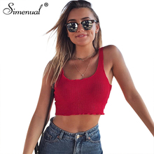 Buy Simenual Hot summer tank top women clothing ruffles slim sleeveless shirt female 2018 sexy tops cropped ladies bandage vest sale for $7.49 in AliExpress store