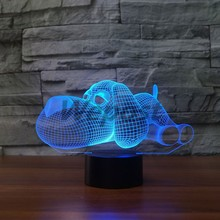 Cute Adorkable Dog 3d Illusion Lampe Led USB Charged Big Nose Pet Puppy Mode Lighting Lamp Transparent Plate Refraction 7 colors(China)