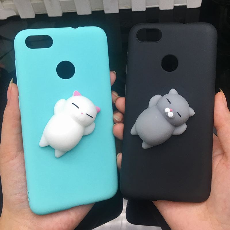 3d Squishy Cat Silicon TPU Soft Cases For Huawei P20 lite P20 pro P9 lite mini 2017 Candy Color Back Cover Honor 8 lite P10 plus (1)
