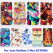 Soft TPU Hard Plastic Phone Cases For Asus Zenfone 3 Max ZC553KL Zenfone3 Max 5.5 inch Housing Bags Skin Rose Peony Flower Shell