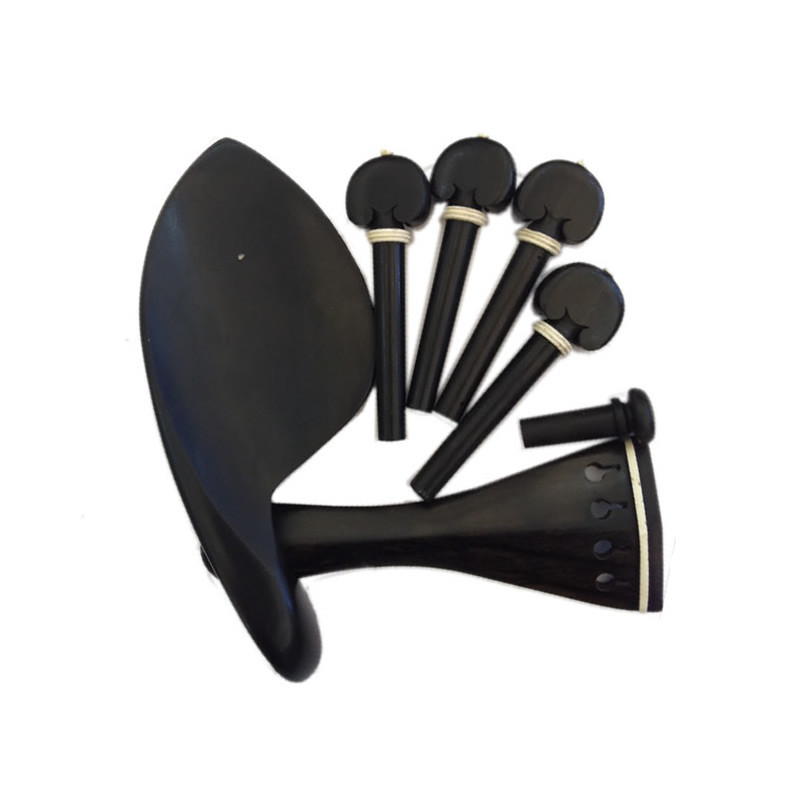 Wholesale Top Quality One Set of Ebony Violin Chinrest Drawplates Tailpiece and Pegs 4/4 3/4 1/2 1/4 Violino Accessories <br>