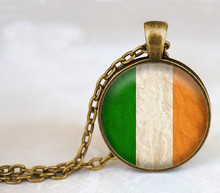 Handcrafted Fine Jewelry,Irish Flag Glass Dome Pendant Necklace,Vintage Choker Necklace,Ireland Bijuterias on Aliexpress(China)