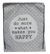 Letter Just do more what makes you happy printed custom stripe hanging drawstring backpack foldable reusable shopping bag