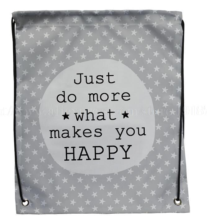 Letter Just do more what makes you happy printed custom stripe hanging drawstring backpack foldable reusable shopping bag(China (Mainland))